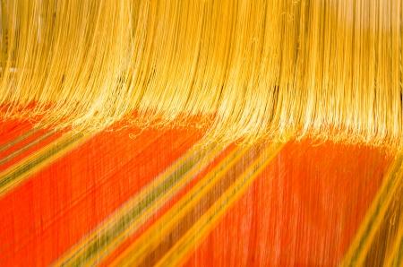 loom: A loom prepared for weaving