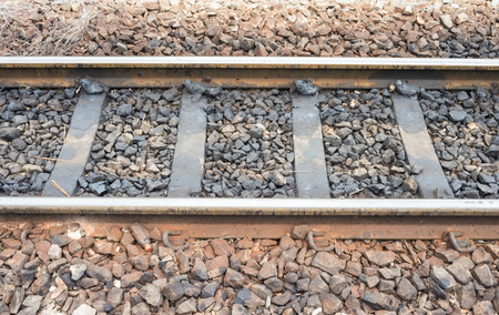 railroad track: Detail of a railroad track. Stock Photo