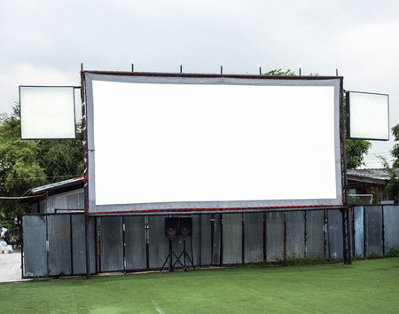 out door: Out door white movie screen. Stock Photo