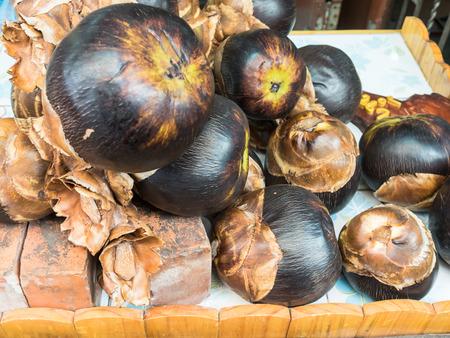 palmyra palm: Asian palmyra palm for sale in market.