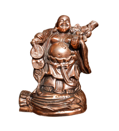 pot bellied: Copper statue of Hotei Japanese deity symbolizing good luck and prosperity, isolated on a white background Stock Photo