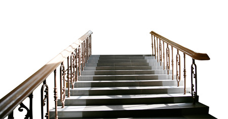leading: Flight of stairs with railings leading up isolated on white background