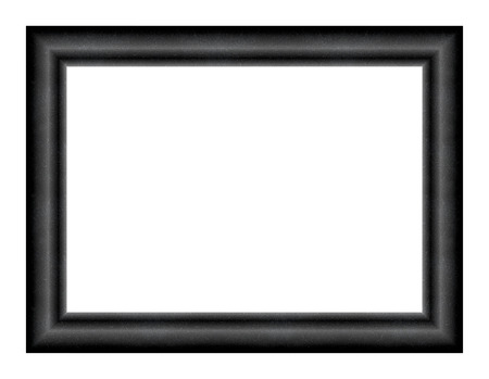 presence: Convex rectangular empty frame for paintings and photos with the effect of the presence of dust on the surface on a black background