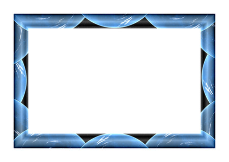 starry sky: Empty rectangular frame for pictures and paintings depicting blue planet against the starry sky