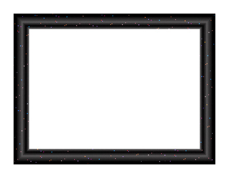 convex: Convex rectangular empty frame for paintings and photographs depicting the luminous stars in the black sky background