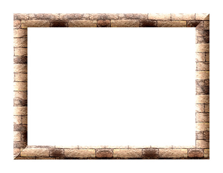 Rectangular picture frame with a textured finish building stone on a white background photo
