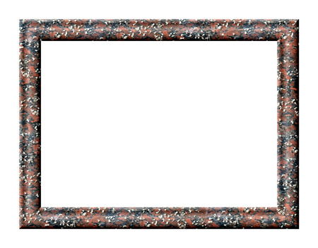 isolation: Rectangular frame with empty red granite texture with fallen white flowers on its surface on a white background Stock Photo