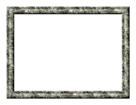 crust: Rectangular blank photo frame with textured crust of ice on a white background