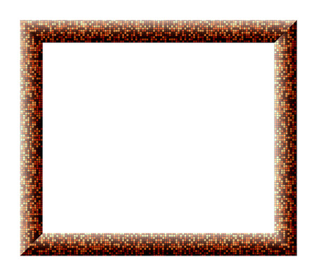 Empty frame for pictures with the texture of multicolored small tiles orange colors on a white background photo