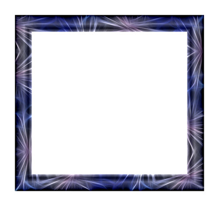 Photo Frame with abstract fractal texture blue tone on a white background photo