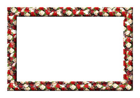Blank photo frame with textured wedding roses on a white background photo