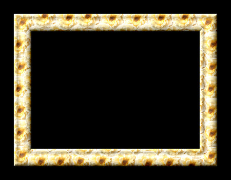 yellow roses: Photo frame with empty teksutroy yellow roses on a black background