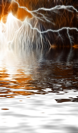 unearthly: Abstract landscape. Lightning on a fantastic sky reflected in water