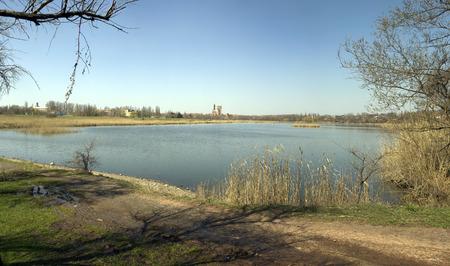 water spring: Water spring landscape in the city of Krivoy Rog in Ukraine