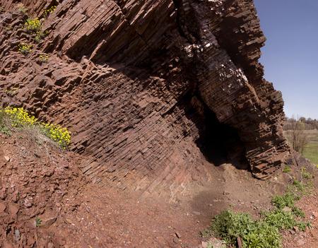 schist: Fragment of rock schist, which is Skansen in Krivoy Rog in Ukraine Stock Photo