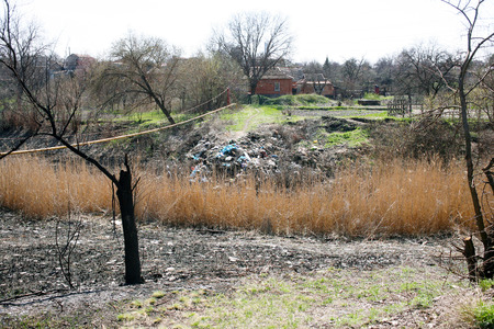 landfills: A general view of landfills, polluting near residential buildings