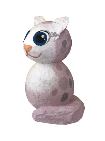 papiermache: General view of the childrens crafts - cat figurines of papier-mache on a white background Stock Photo