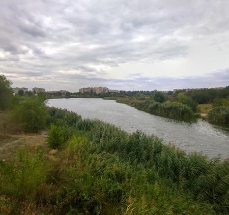 Autumn panoramic water landscape of the city of Krivoy Rog of Ukraine