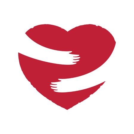 Hands embracing red heart. Negative space sign art design Иллюстрация