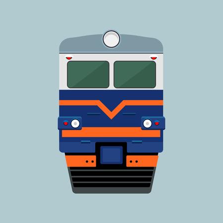 Blue electric train locomotive flat icon design