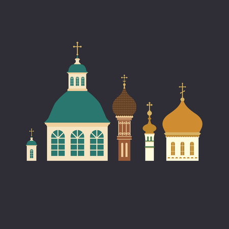 Russian ortodox church domes with crosses flat design illustration