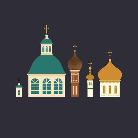 Russian ortodox church domes with crosses flat design illustration