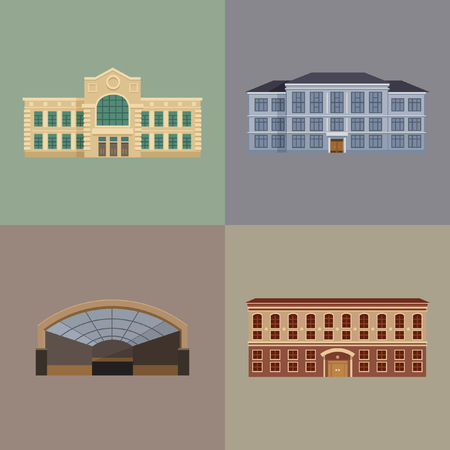 Set of Downtown city buildings. Flat vector illustration.
