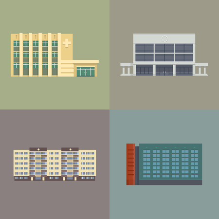 Set of city town buildings. Flat style illustration