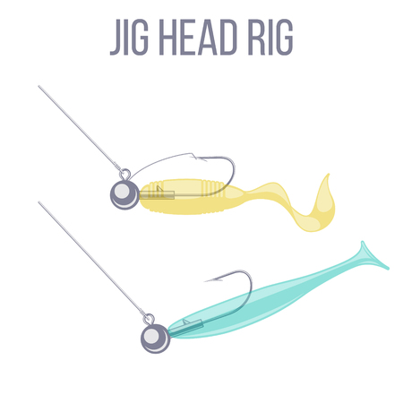 Jig head hook rigging options for catching predatory fish with spinning rod. Weed guard and open hook variations.