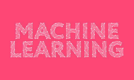 Machine Learning headline design made of dots and thin lines