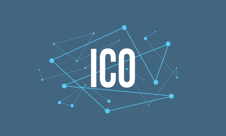 ICO headline design made of dots and thin lines on blue background