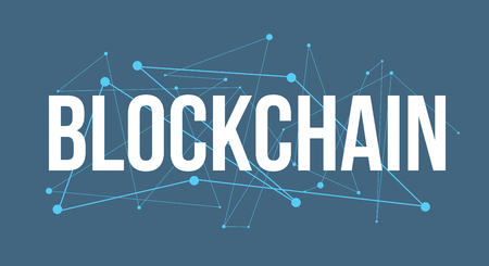 BLOCKCHAIN  headline design made of dots and thin lines on blue background Иллюстрация