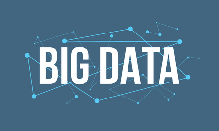 BIG DATA  headline design made of dots and thin lines on blue background