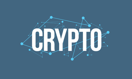 CRYPTO headline design made of dots and thin lines on blue background