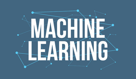 MACHINE LEARNING headline design made of dots and thin lines on blue background