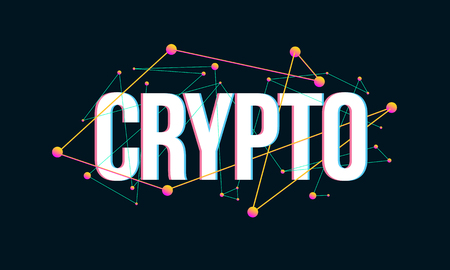 CRYPTO colored headline design made of dots and thin lines on dark background Иллюстрация