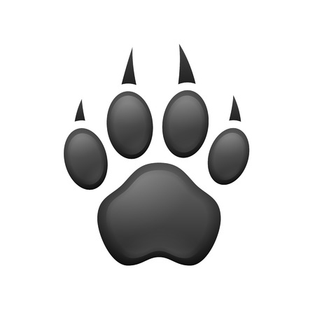 Paw print. Gray animal paw print isolated . Illustration