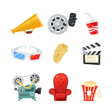Set of colored isometric cartoon cinema icons. Retro style. Vector illustration.