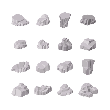 grey background texture: Rocks and stones elements. Different shapes isolated on white background. Isometric 3d flat style. Illustration