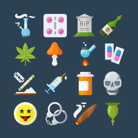 methamphetamine: Illegal drugs flat icons set. Methamphetamine abuse, marijuana narcotic, tablet pharmacy, alcohol addiction, smoke pipe, vector illustration.