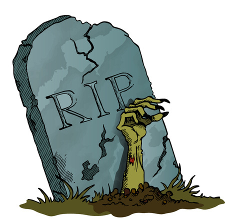 Tombstone with Zombie Hand - vector image Illustration