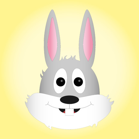 teeths: Head of easter bunny with cute expression on gradient background Illustration