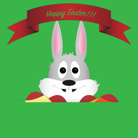 teeths: Head of easter bunny with cute expression on green background with colored eggs, red ribbon and green background Illustration