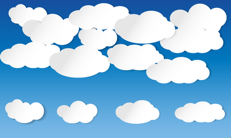 illustrated: Illustrated clouds on blue sky