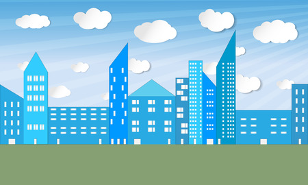 illustrated: Illustrated city panorama with sky, clouds, skyscrapers and green field