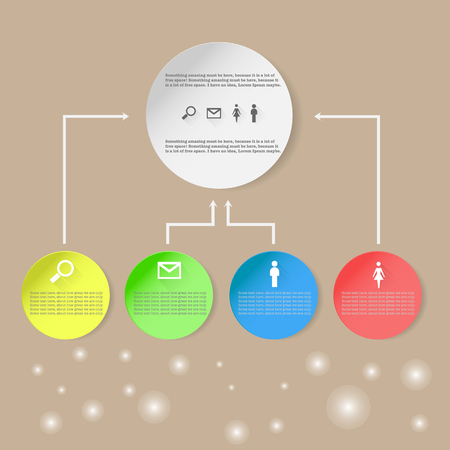 mail man: Infographic with circles, search mail, man, woman and bookeh