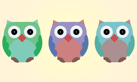 illustrated: Illustrated set of owls