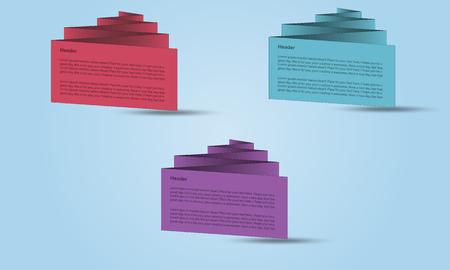 zig: Set of zig zag 3D banners or visit cards Illustration
