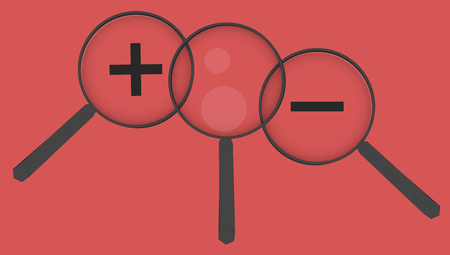 smaller: Magnifier set, set of magnifiers on red background. Enlarge or smaller. Reflection