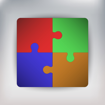 color match: Four pieces of connected jigsaw, four pieces of connected puzzle, puzzle connected to square, jigsaw connected to square